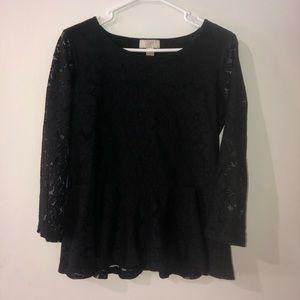 Loft black lace peplum top